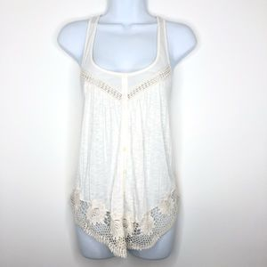 American Eagle AEO Crochet Tank Top Off White Sz S